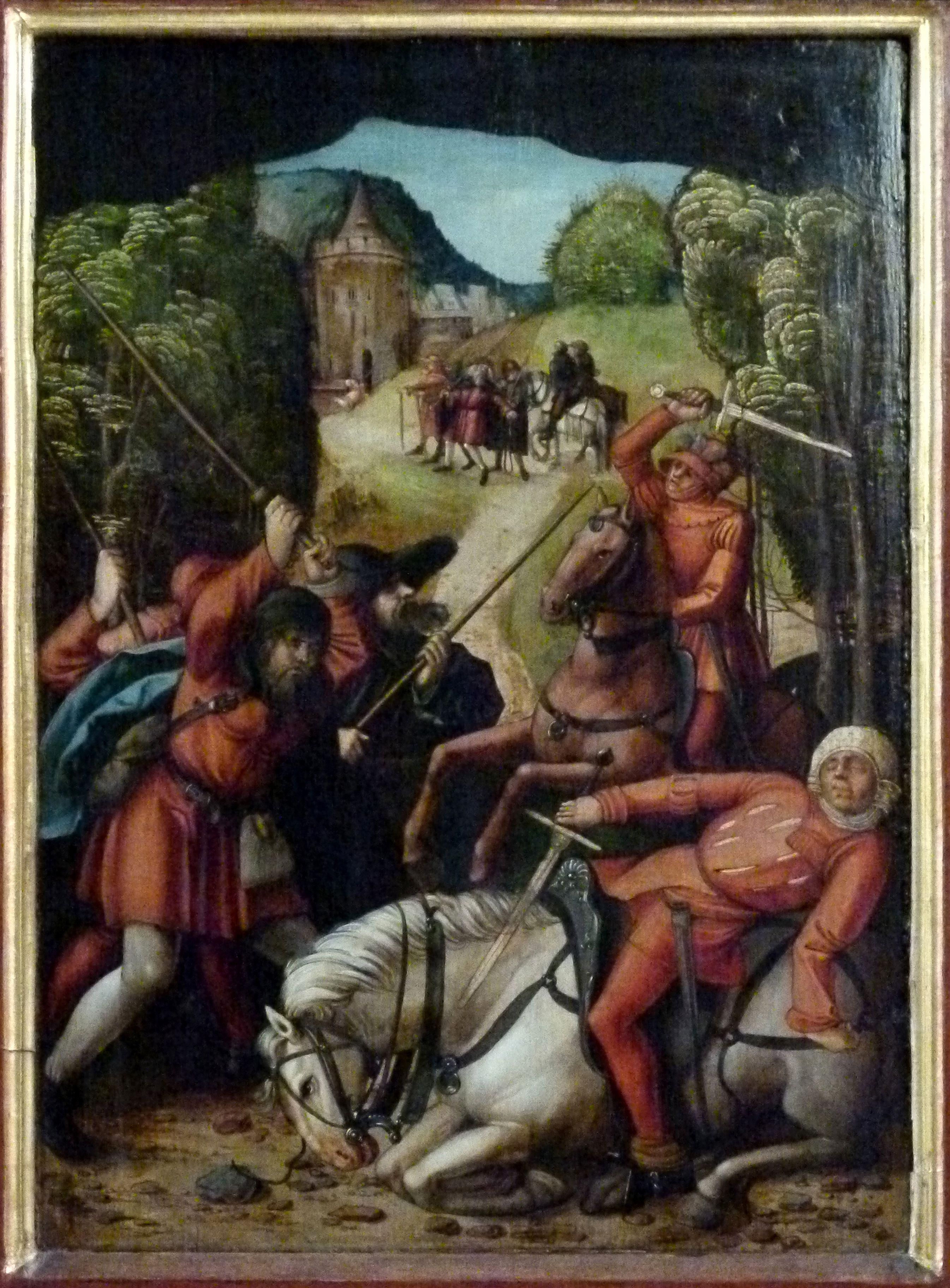 Sebaldus  Altar linker Flügel, innen unten, Räuberischer Überfall auf den Heiligen und seine Begleiter
