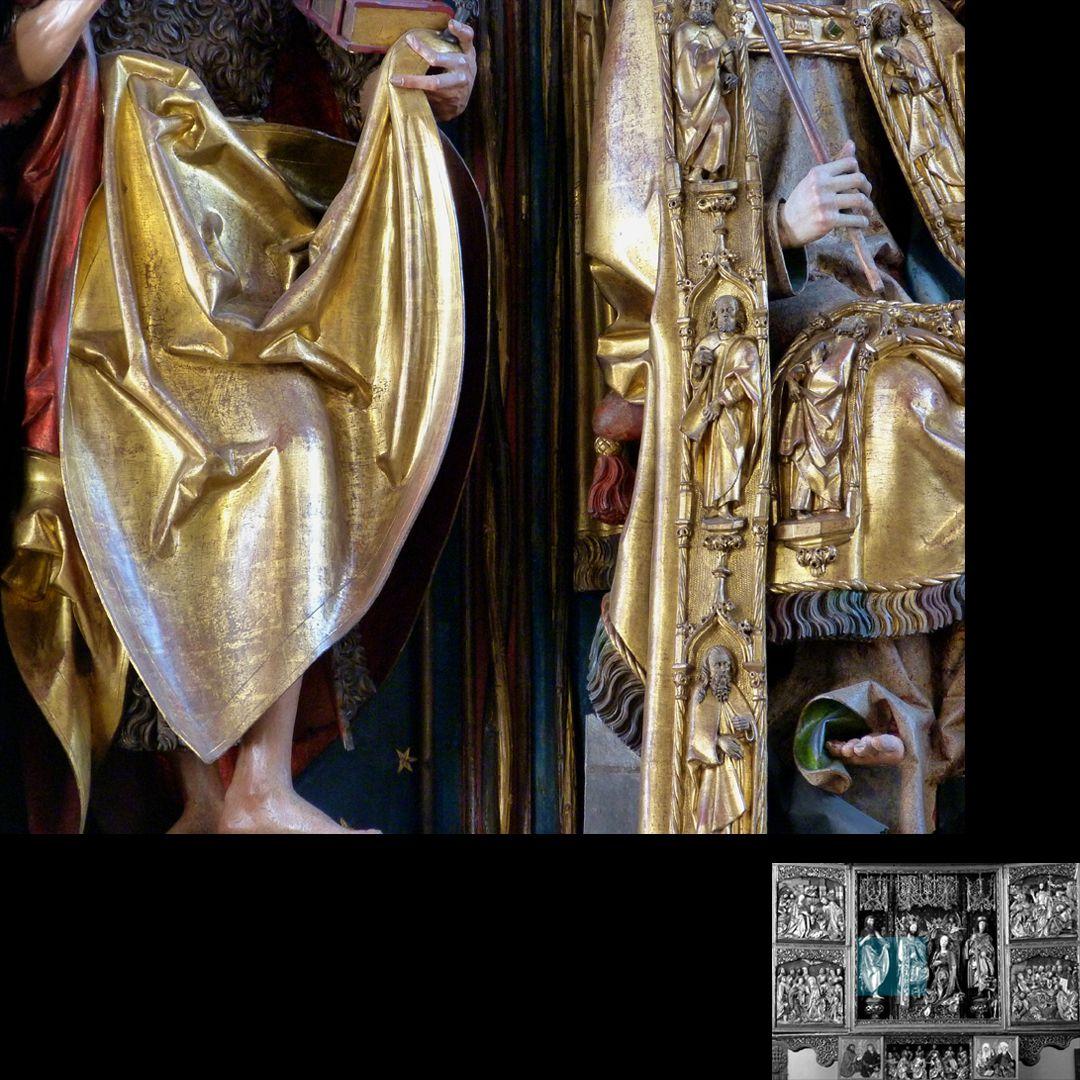 Hochaltar (Schwabach) Detail der Faltenführung und der Mantelborte Christi