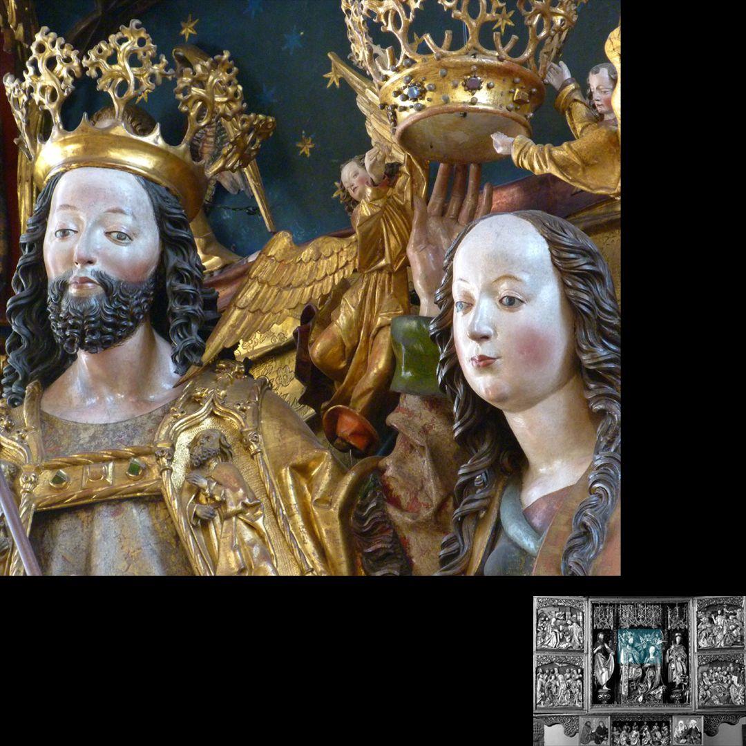 Hochaltar (Schwabach) Köpfe von Christus und Maria