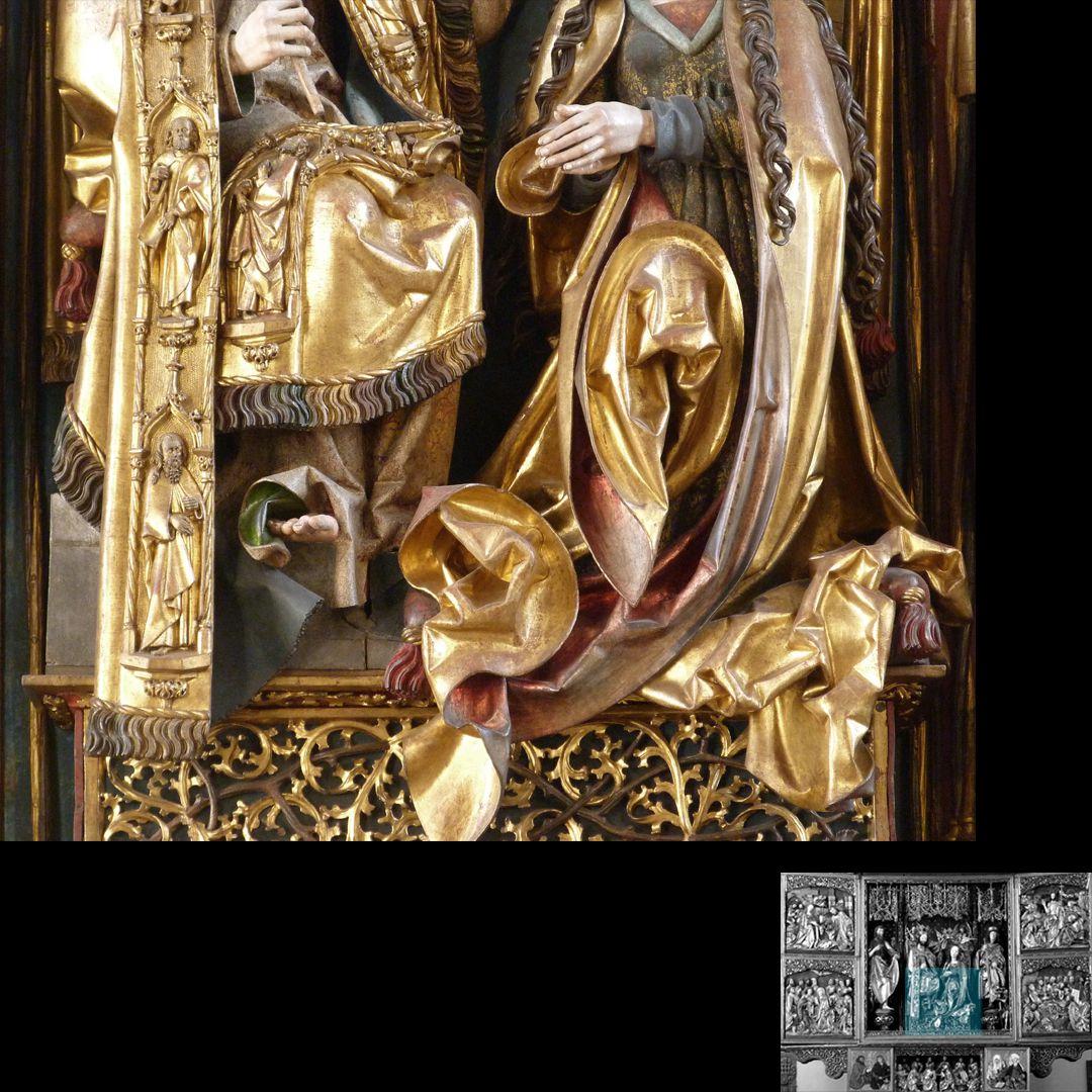 Hochaltar (Schwabach) Gewanddetail Christi und ohrenförmige Falten des Marienmantels
