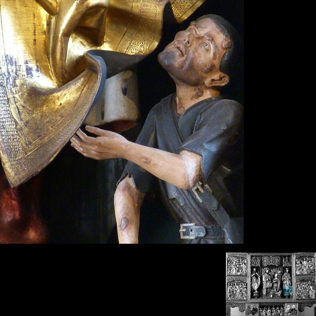 Hochaltar (Schwabach) Bettler, Detail
