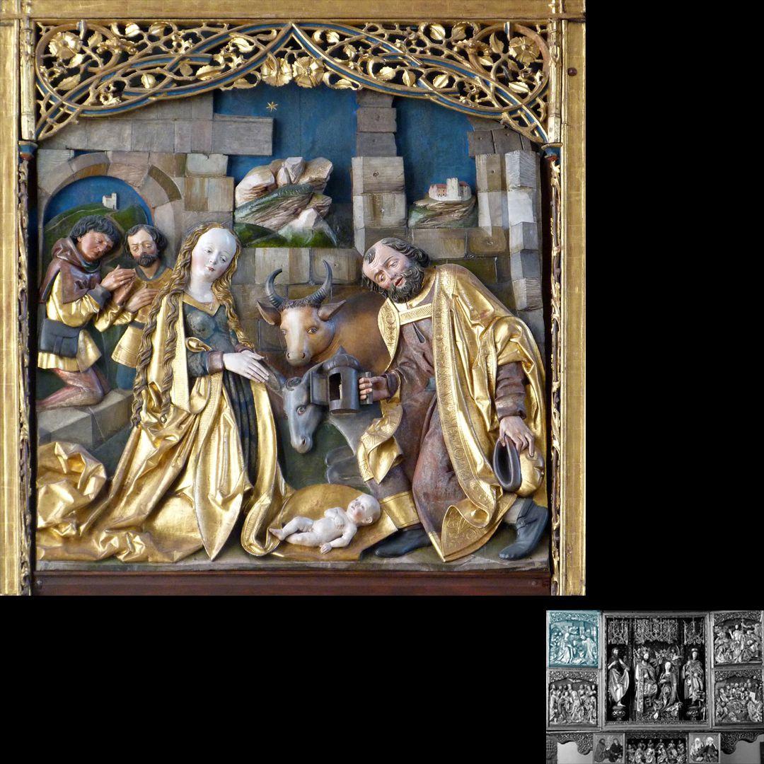 Hochaltar (Schwabach) linker Flügel, oben: Geburt Jesu