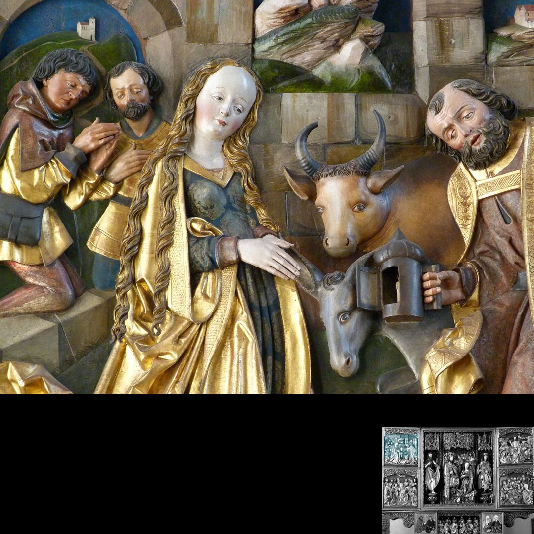 Hochaltar (Schwabach) linker Flügel, oben: Geburt Jesu, Detail