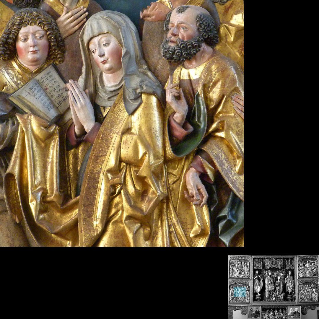 Hochaltar (Schwabach) linker Flügel, unten: Pfingstwunder, Maria zwischen Johannes und Petrus