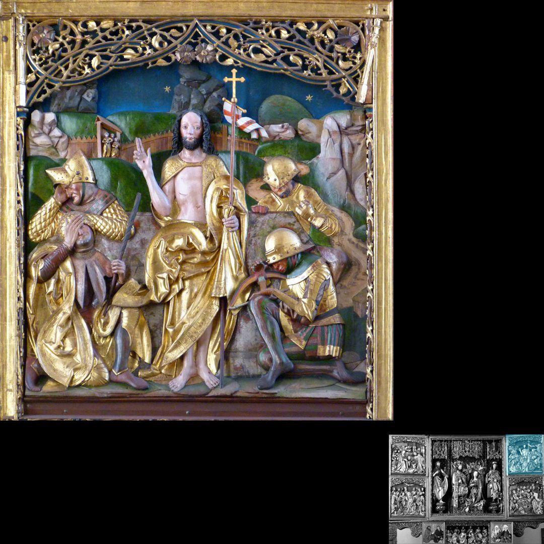 Hochaltar (Schwabach) rechter Flügel, oben: Auferstehung