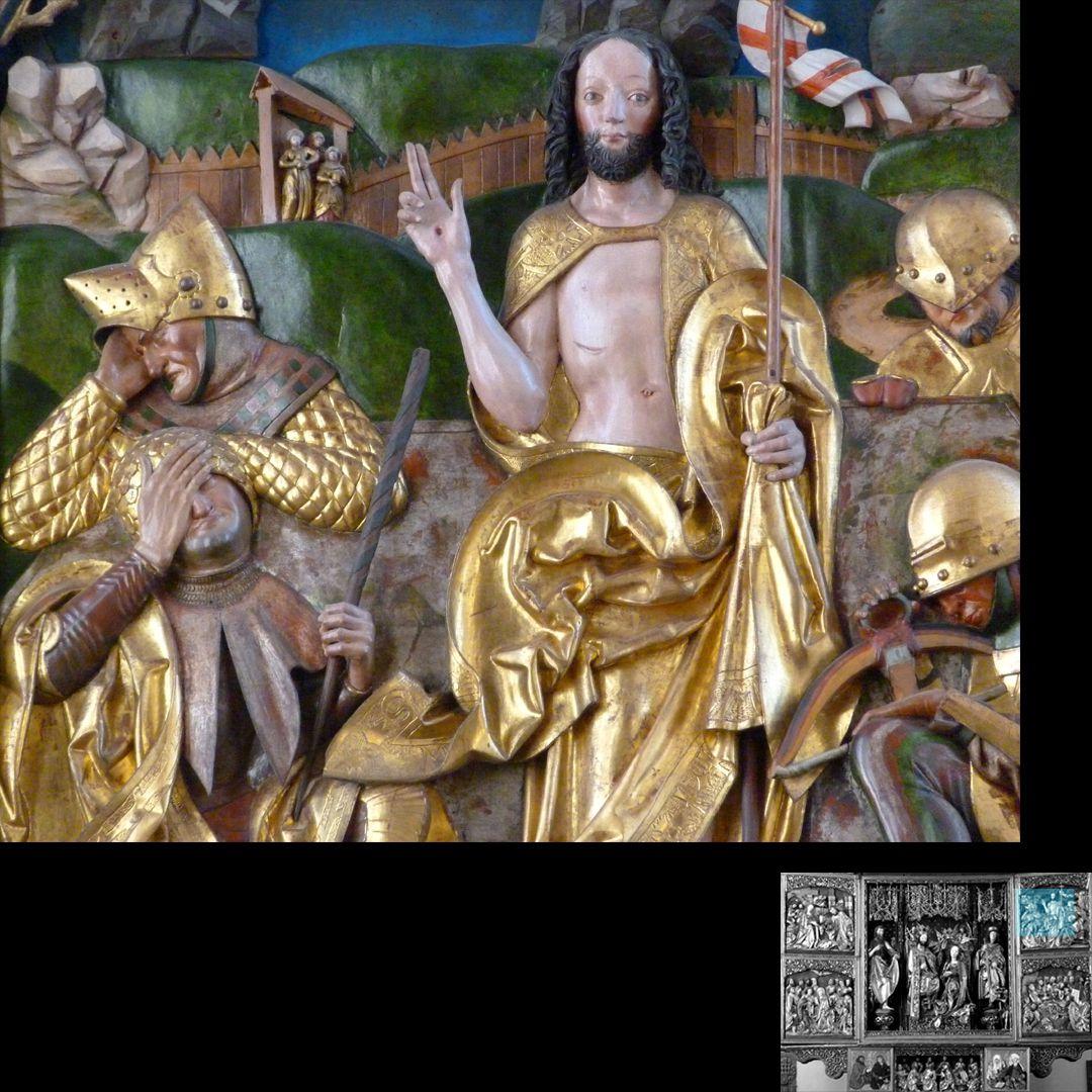 Hochaltar (Schwabach) rechter Flügel, oben: Auferstehung, Detail