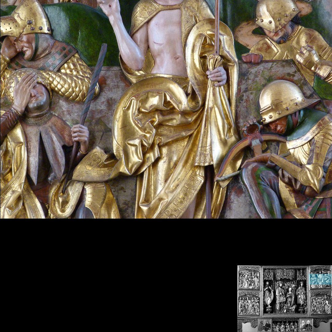 Hochaltar (Schwabach) rechter Flügel, oben: Auferstehung, Faltenführung