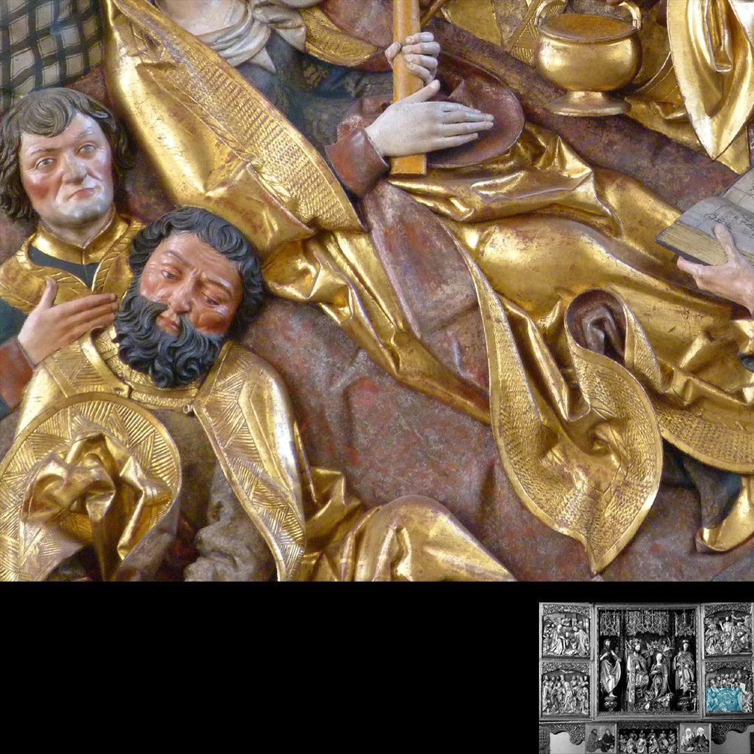Hochaltar (Schwabach) rechter Flügel, unten: Marientod, Detail mit Faltenführung