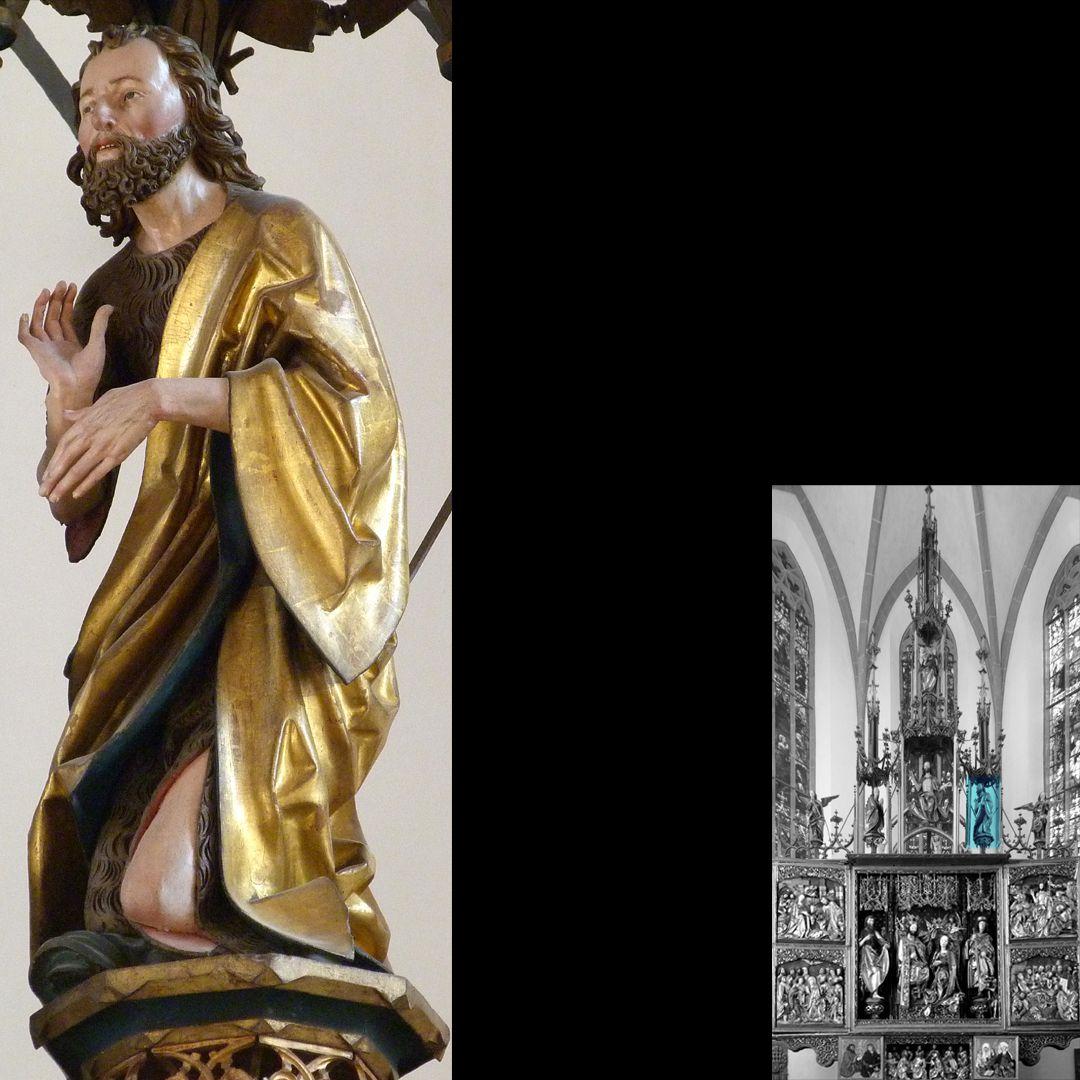 Hochaltar (Schwabach) Gesprenge, Johannes der Täufer