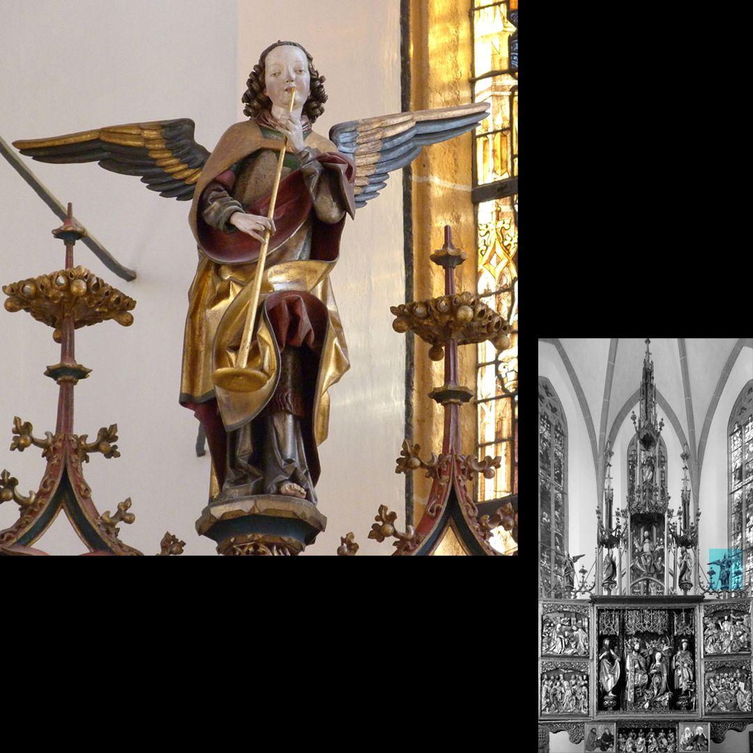 Hochaltar (Schwabach) Gesprenge, rechter Posaunenengel des Jüngsten Gerichts