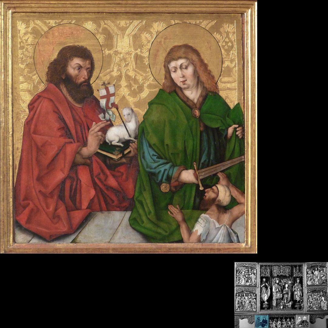 Hochaltar (Schwabach) linker Predellaflügel mit Johannes d.T. und Martin von Tours, Gemälde aus der Wolgemutwerkstatt