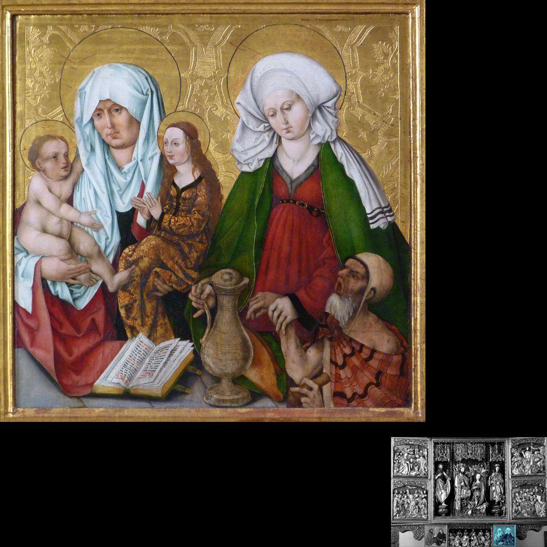 Hochaltar (Schwabach) rechter Predellaflügel, Anna-Selbdritt und hl. Elisabeth von Thüringen, Gemälde aus der Wolgemutwerkstatt