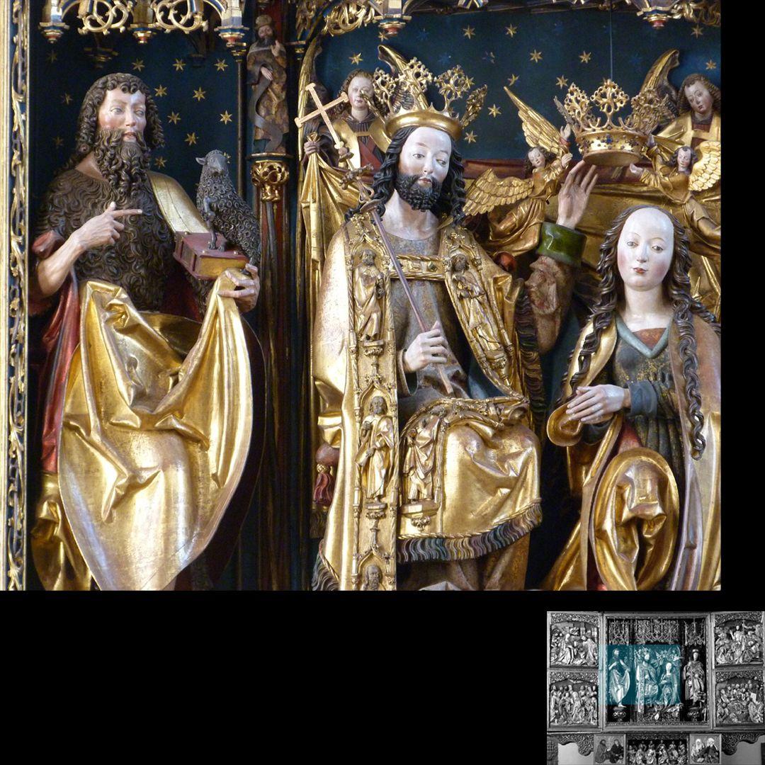 Hochaltar (Schwabach) Johannes der Täufer, Christus und Maria