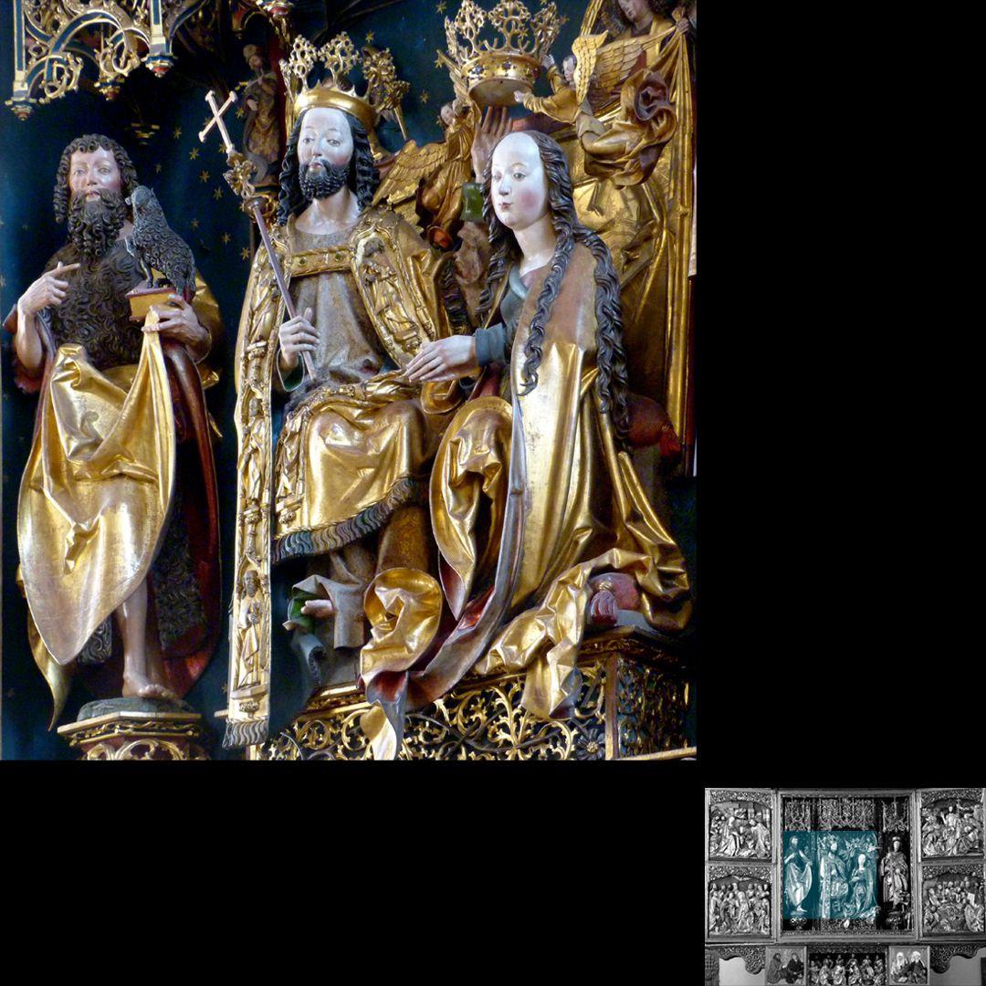 Hochaltar (Schwabach) Johannes der Täufer, Christus und Maria, Seitenansicht
