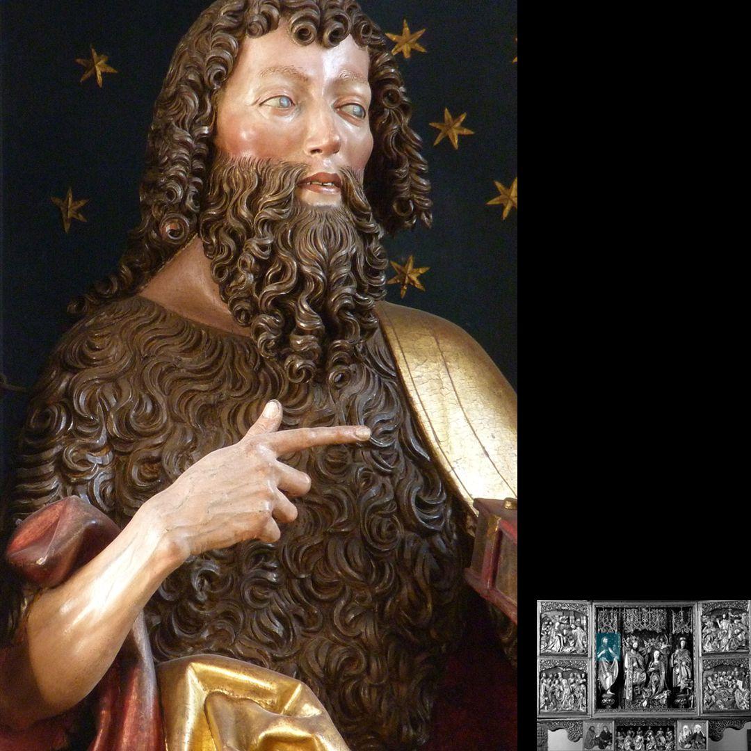 Hochaltar (Schwabach) Johannes der Täufer, Detail
