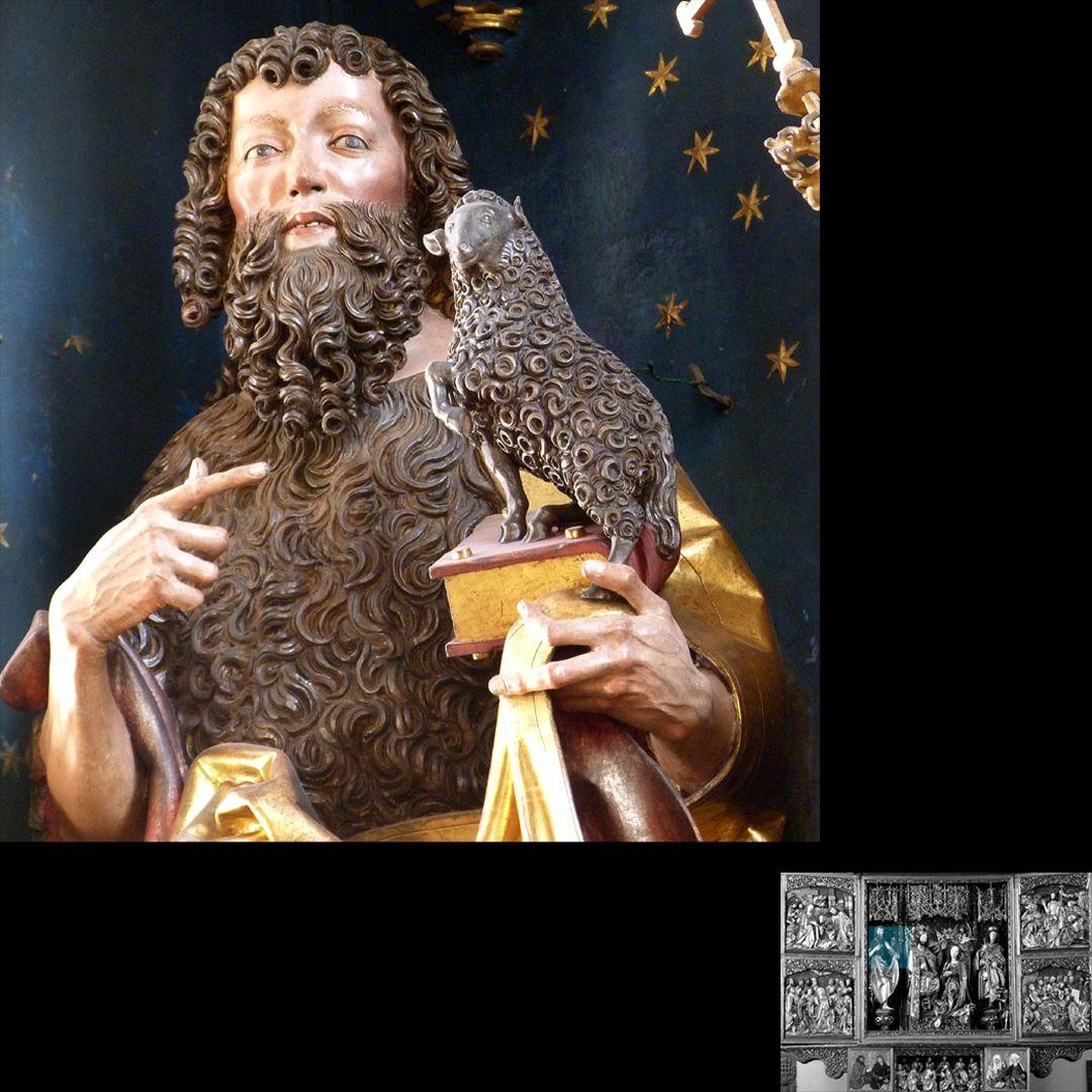 Hochaltar (Schwabach) Johannes der Täufer mit Evangelium und Lamm