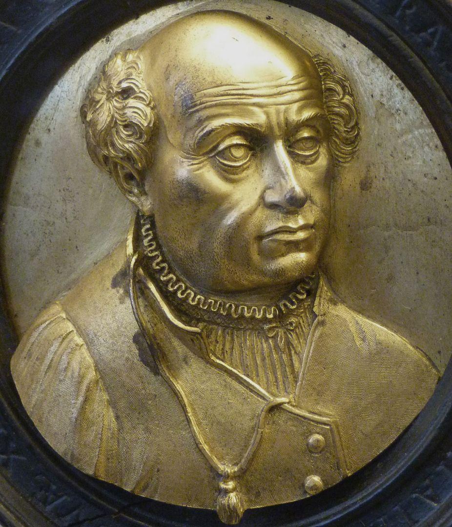 Bildnismedaillon des Theophrast von Hohenheim, gen. Paracelsus Schrägansicht von rechts, Detail