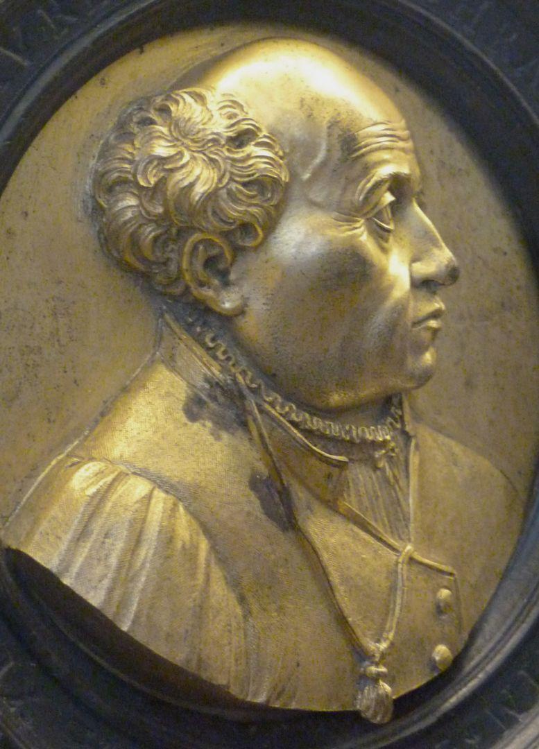Bildnismedaillon des Theophrast von Hohenheim, gen. Paracelsus Schrähgansicht vin links, Detail