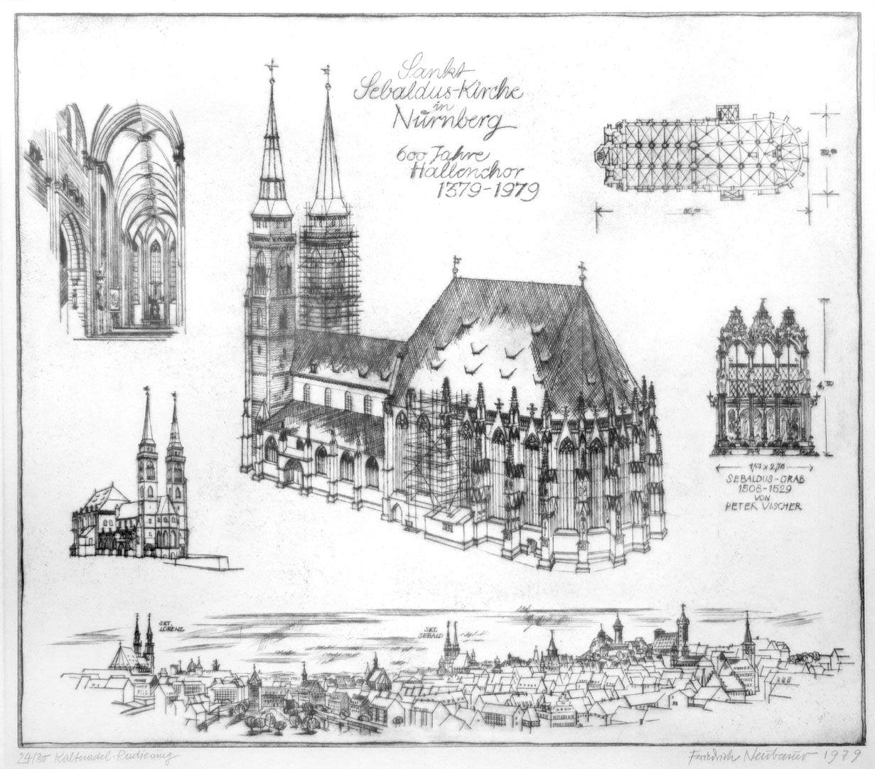 Sankt Sebalduskirche in Nürnberg, 600 Jahre Hallenchor, 1379 - 1979 Gesamtansicht