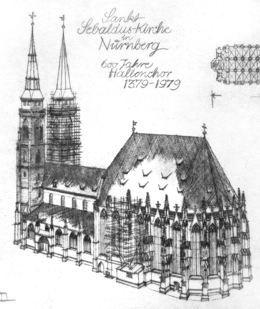 Sankt Sebalduskirche in Nürnberg, 600 Jahre Hallenchor, 1379 - 1979 Detail mit St. Sebald