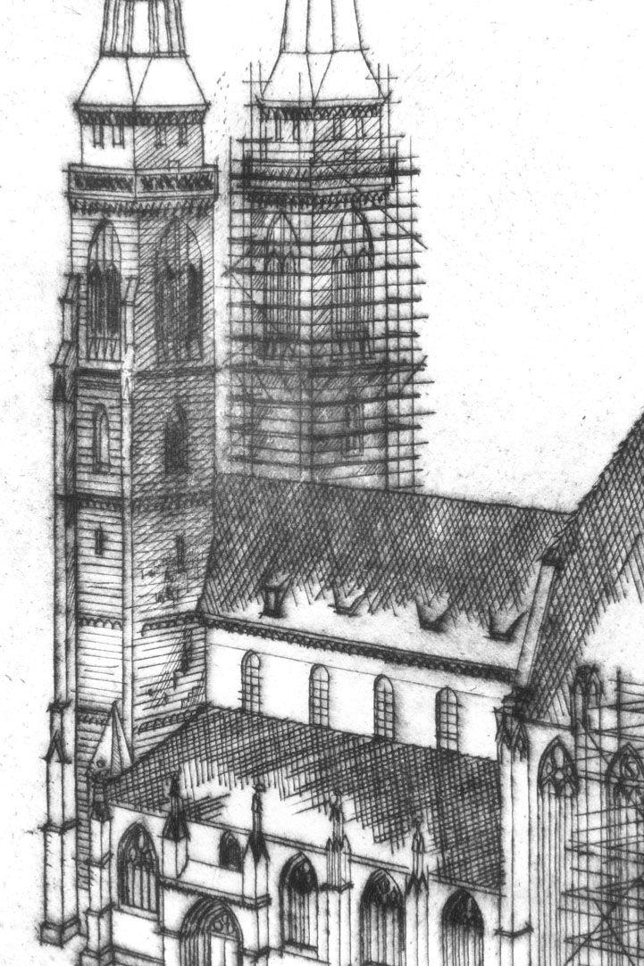 Sankt Sebalduskirche in Nürnberg, 600 Jahre Hallenchor, 1379 - 1979 Türme von St. Sebald und Langhaus