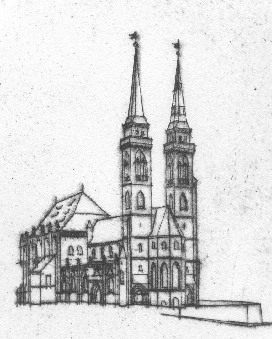 Sankt Sebalduskirche in Nürnberg, 600 Jahre Hallenchor, 1379 - 1979 Blick auf St. Sebald von Nordwesten