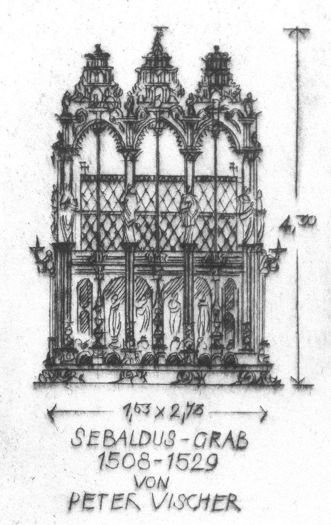 Sankt Sebalduskirche in Nürnberg, 600 Jahre Hallenchor, 1379 - 1979 Detailansicht mit Sebaldus-Grab
