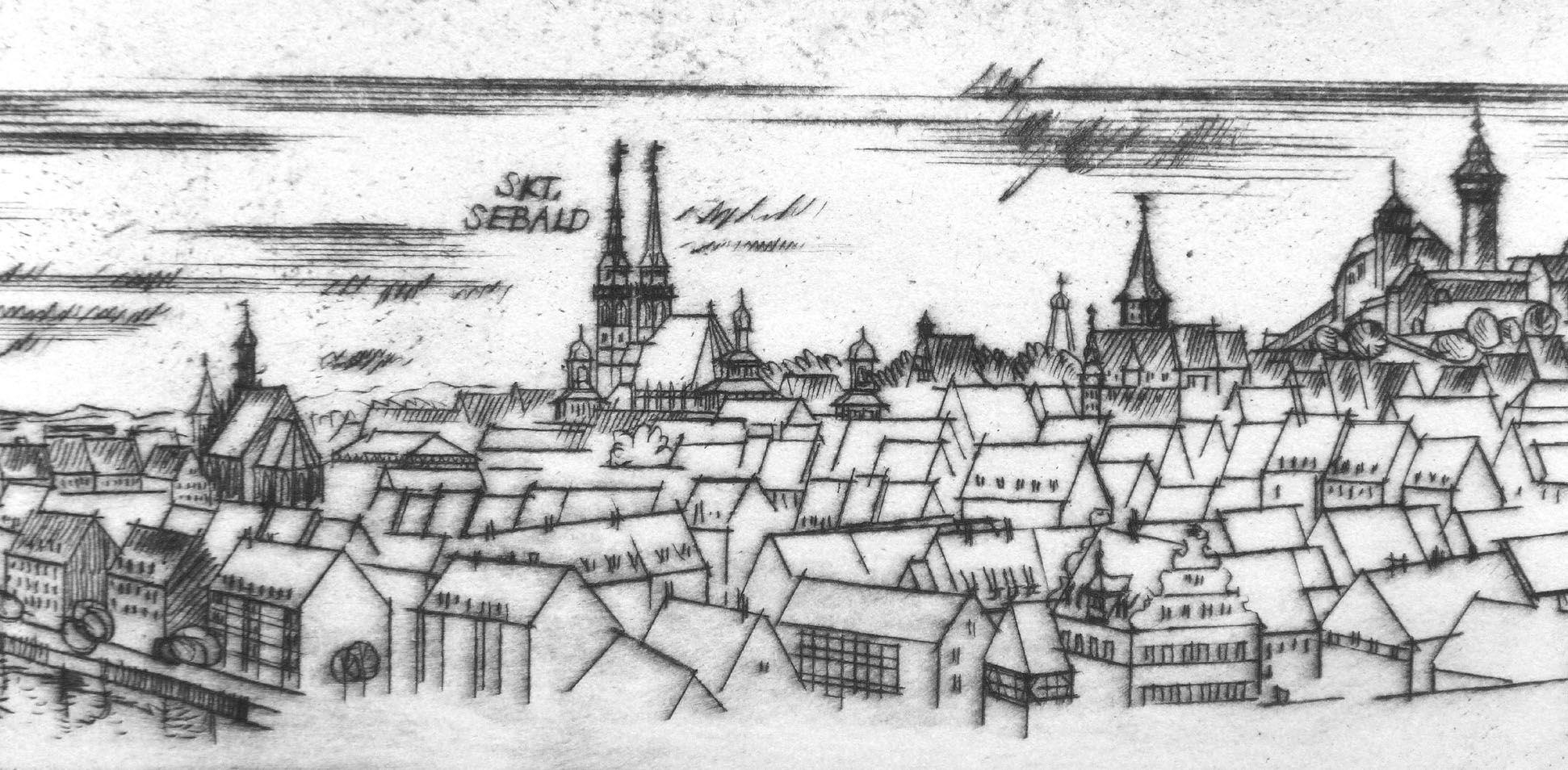 Sankt Sebalduskirche in Nürnberg, 600 Jahre Hallenchor, 1379 - 1979 Stadtansicht am unteren Bildrand, Details von der Frauenkirche bis zur Burg