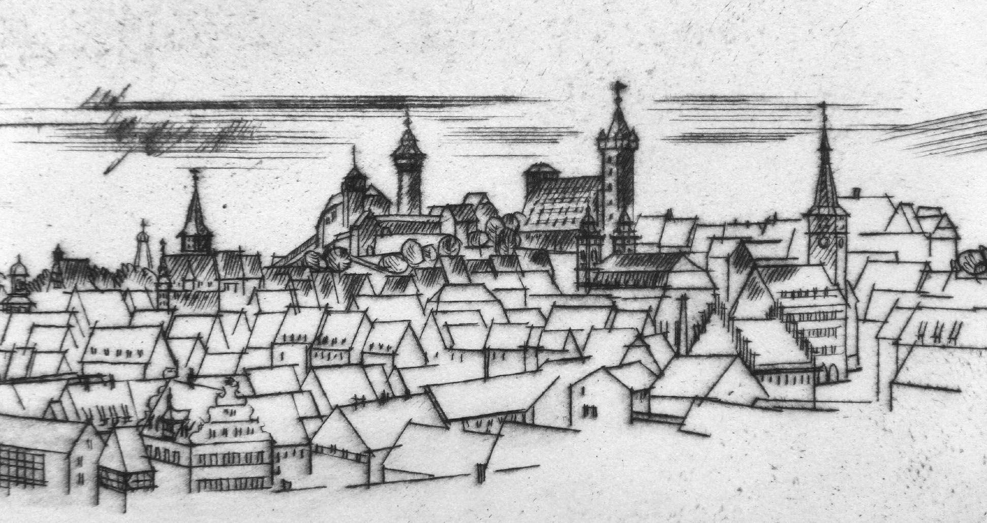 Sankt Sebalduskirche in Nürnberg, 600 Jahre Hallenchor, 1379 - 1979 Stadtansicht am unteren Bildrand, Details vom Tiergärtnertor bis Laufer Schlagturm