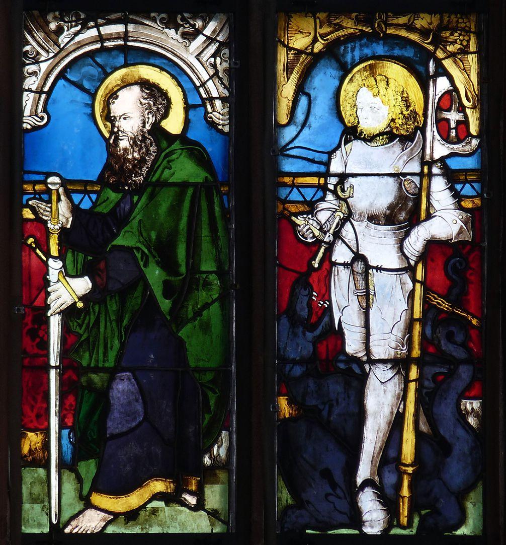 Bamberger Fenster zweite Fensterzeile von unten, dritte und vierte Fensterbahn, die Heiligen Paulus und Georg