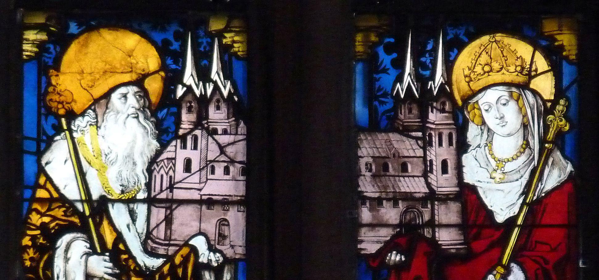 Bamberger Fenster dritte Fensterzeile von unten, zweite und dritte Fensterbahn von links, Kaiser Heinrich und Kaiserin Kunigunde, obere Hälfte
