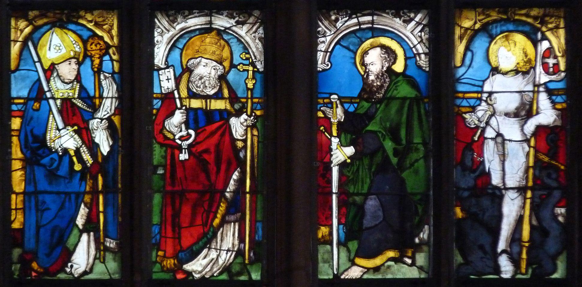 Bamberger Fenster zweite Fensterzeile von unten, Bamberger Domheilige: Kilian, Petrus, Paulus und Georg