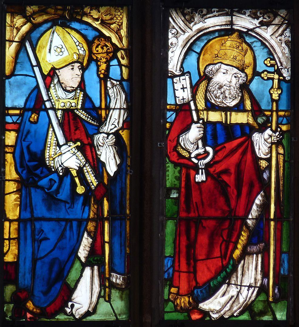 Bamberger Fenster zweite Fensterzeile von unten, erste und zweite Fensterbahn, die Heiligen Kilian und Petrus
