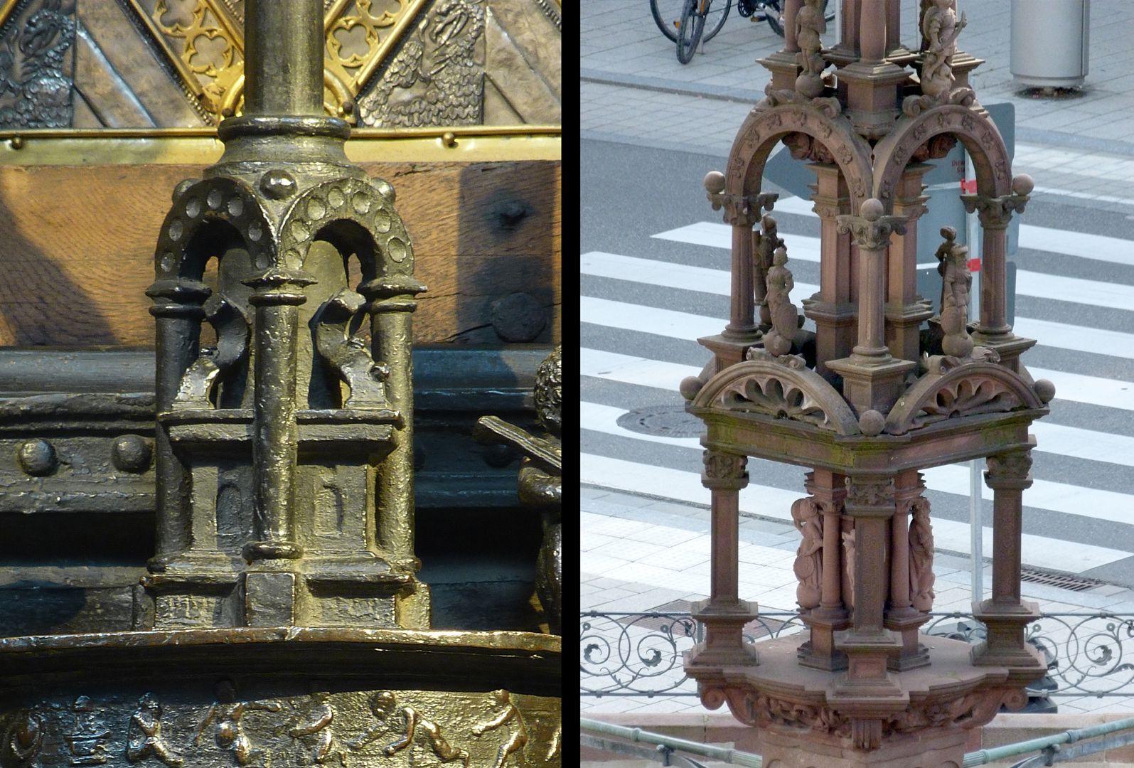 Sebaldusgrab Die Komposition mancher Dienstbasis in Luftbögen am Sebaldusgrab (l.) findet sich um 1530 am Marktbrunnen in Rottweil wieder (r.)