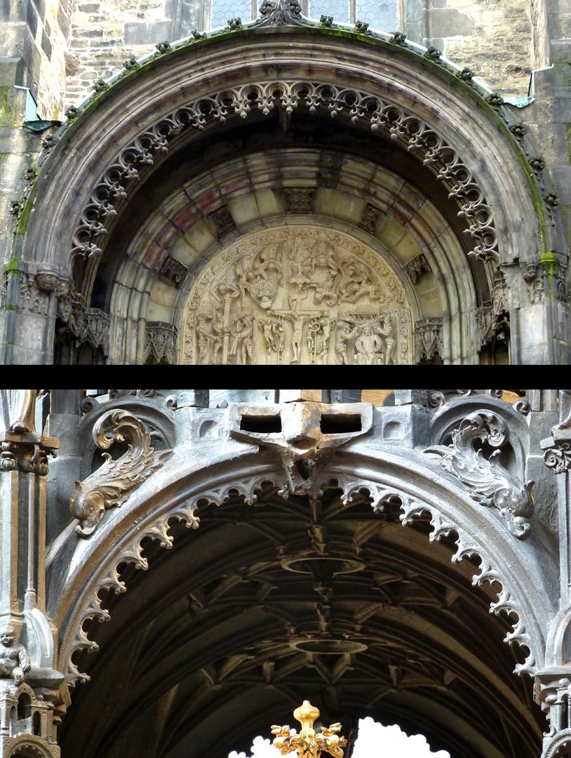 Sebaldusgrab Die hängenden, gotischen Maßwerkfriese der Halbrundbögen im Sebaldusgrab (Foto unten) entstammen den Parlern (Teynkirche zu Prag 2.H. 14. Jh. Foto oben. Eine Zwischenstufe zeigt der Michaelschor der Nürnberger Frauenkirche).
