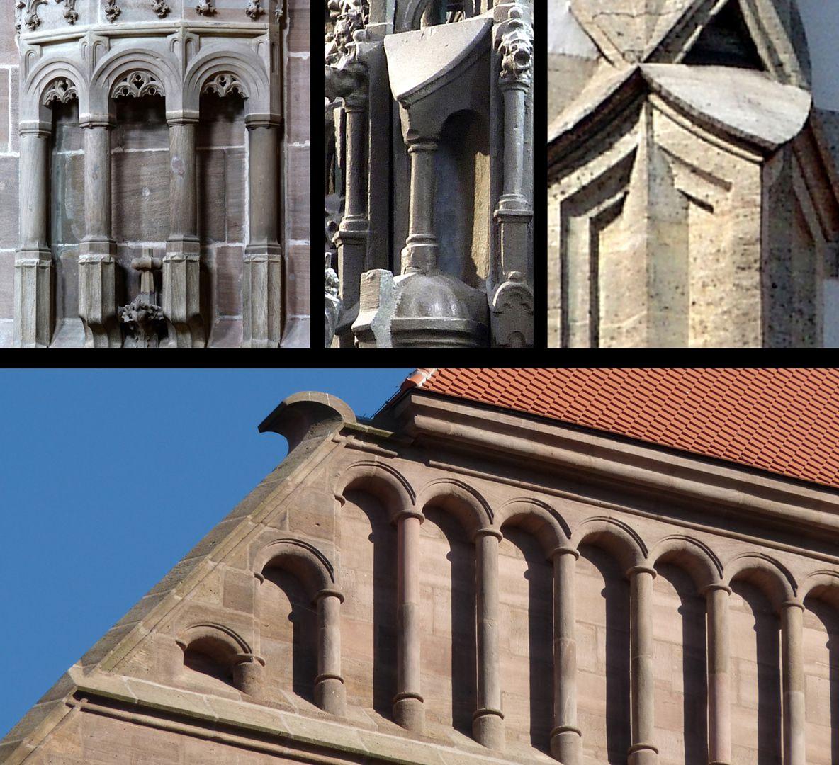 Sebaldusgrab Rundsäulchen mit kleinen Rundbögen erscheinen gleichzeitig um 1517 am Sebaldusgrab (Foto M.) und an der Lorenzkirche (Foto unten). Der zungenförmige Wasserschlag (Foto M.) ist auch gotisch (Foto r.o.: Sankt Ulrich Augsburg um 1500).