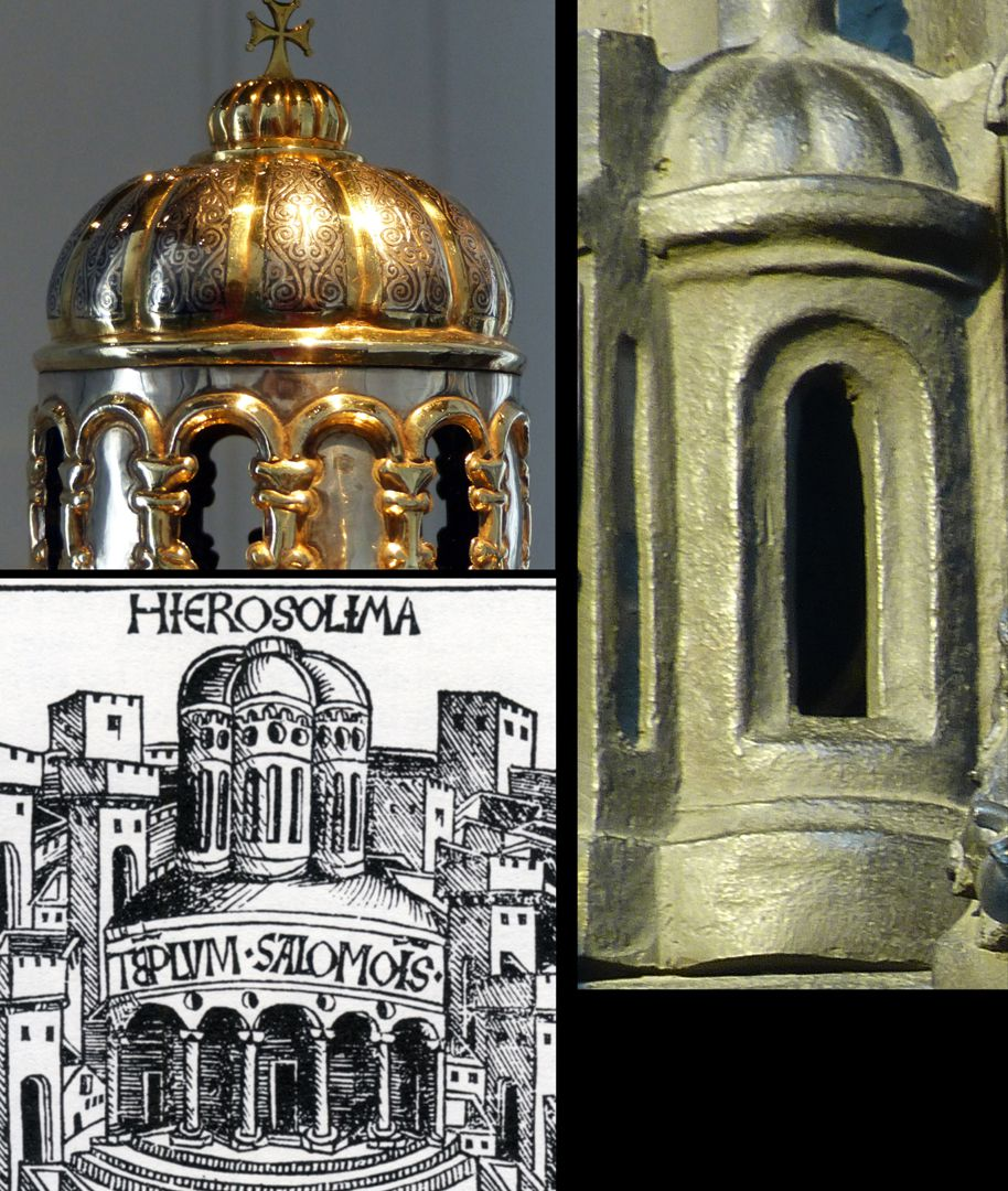 Sebaldusgrab Byzantinisch sind die Faltkuppeln: o.l. Anastasiusreliquiar aus Antiochien, 10. od. 11. Jh., Aachen Domschatz, rechts Sebaldusgrab.Faltkuppeln waren in Nürnberg von der Weltchronik 1493 bekannt.(links unten)