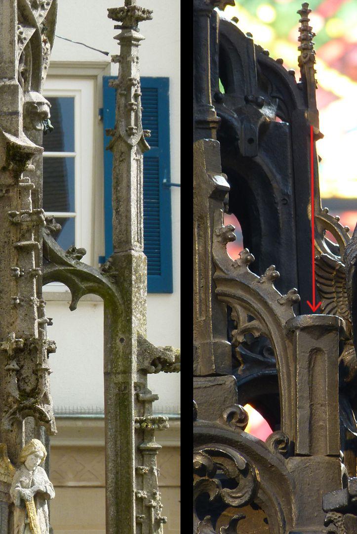 Sebaldusgrab Die Darstellung von Strebewerk (Strebepfeiler u.S-förmige Strebebögen mit Krabbenwerk) entstammt der Gotik (l.Rottenburg/N. Marktbrunnen 1470), r.Sebaldusgrab: der rote Pfeil zeigt die Stelle der trotz vorhandenem Verbindungsloch nicht ausgeführten Fialen