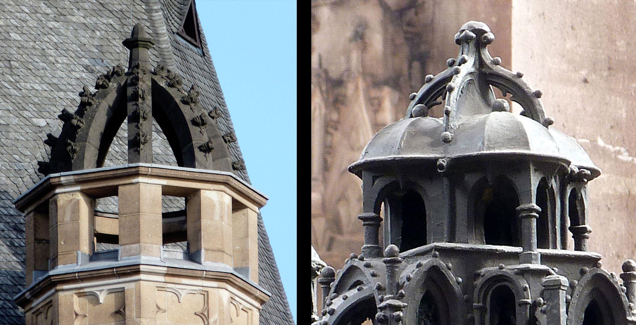 Sebaldusgrab Gotisch sind die Bügelkronen mit Krabbenwerk bzw. Kugeln: links Köln, Rathaus 1407-14, rechts Sebaldusgrab.