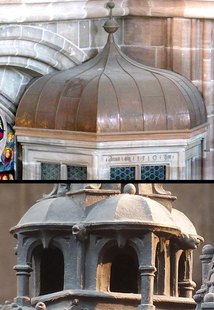 Sebaldusgrab Real gebaute welsche Hauben gab es in Sankt Lorenz (Treppe zur oberen Sakristei, Foto oben) gleichzeitig mit den dargestellten Hauben des Sebaldusgrabs (Foto unten).