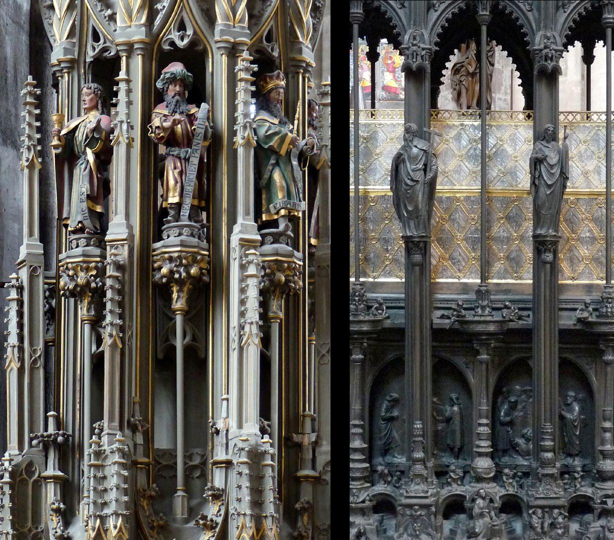 Sebaldusgrab Die Vertikalgliederung des Sebaldusgrabs (Foto rechts) ist als solche gotisch und vergleichbar mit vielen früheren Beispielen wie das Sakramentshaus von Sankt Georg in Dinkelsbühl von 1480, (Foto links).