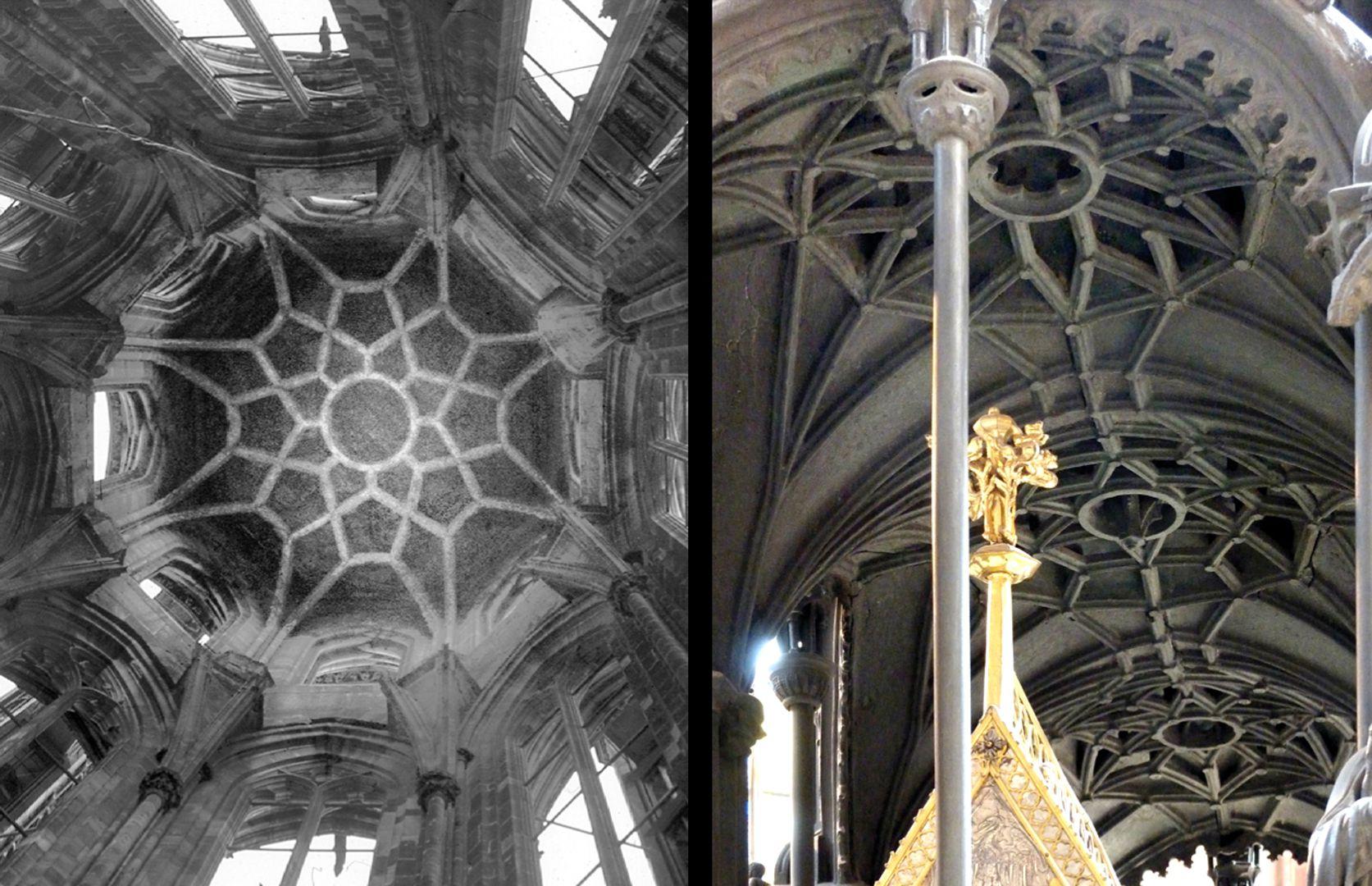 Sebaldusgrab Die gotischen Luftrippen vom Sebaldusgrab (Foto rechts) gehen letztlich auf die Luftrippen des Ulrich von Ensingen von 1419 im Nordturm des Straßburger Münsters (Foto links) zurück.