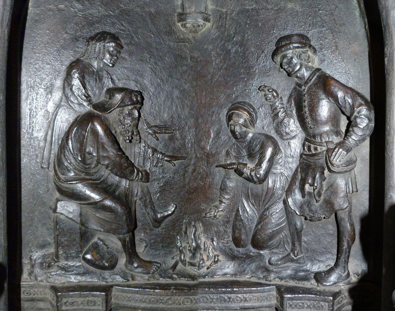 Sebaldusgrab (Nordseite) Sebalduslegende, Relief des Eiszapfenwunders (zwei zusammengesetzte Fotos)