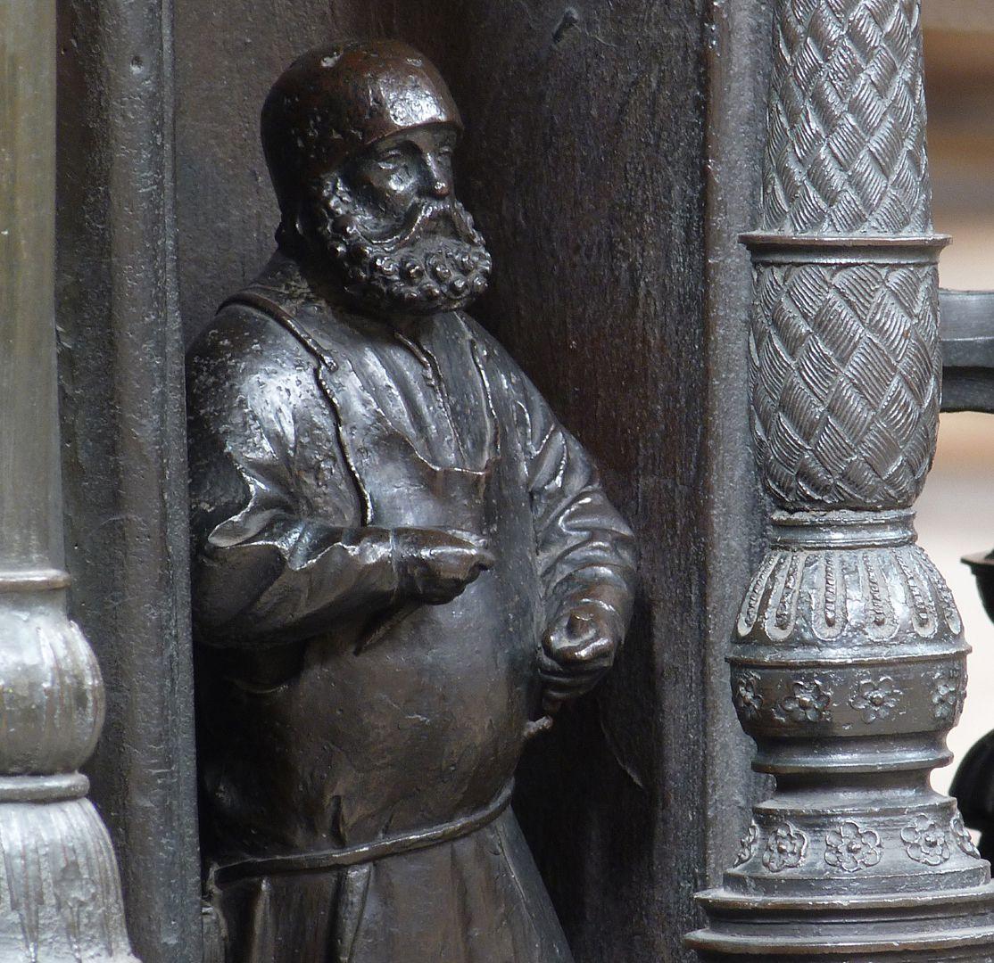 Sebaldusgrab (Ostseite) Selbstbildnis des Peter Vischer d.Ä., Detail