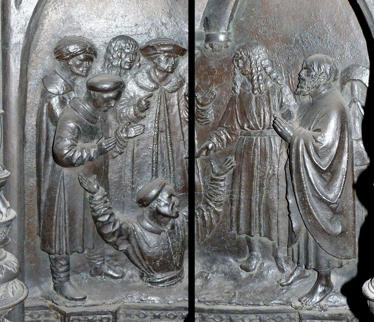 Sebaldusgrab (Südseite) Szene aus der Sebalduslengende: Ein lästernder Ketzer versinkt in einem Erdspalt (zwei Fotos)