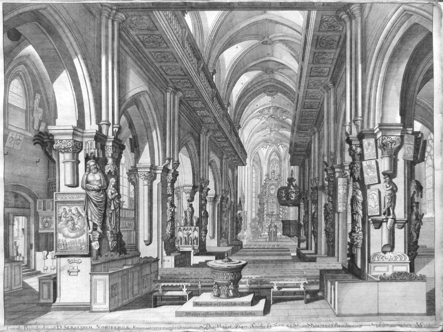 """""""Urbis Norimbergensis Insigniorum Templorum …"""" St. Sebald Inneres nach Ost mit den barocken Holzemporen"""