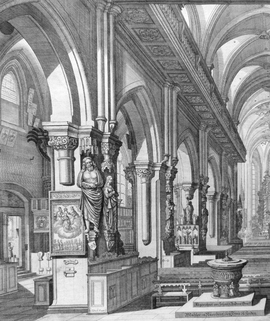 """Urbis Norimbergensis Insigniorum Templorum …"" St. Sebald linke Bildhälfte"