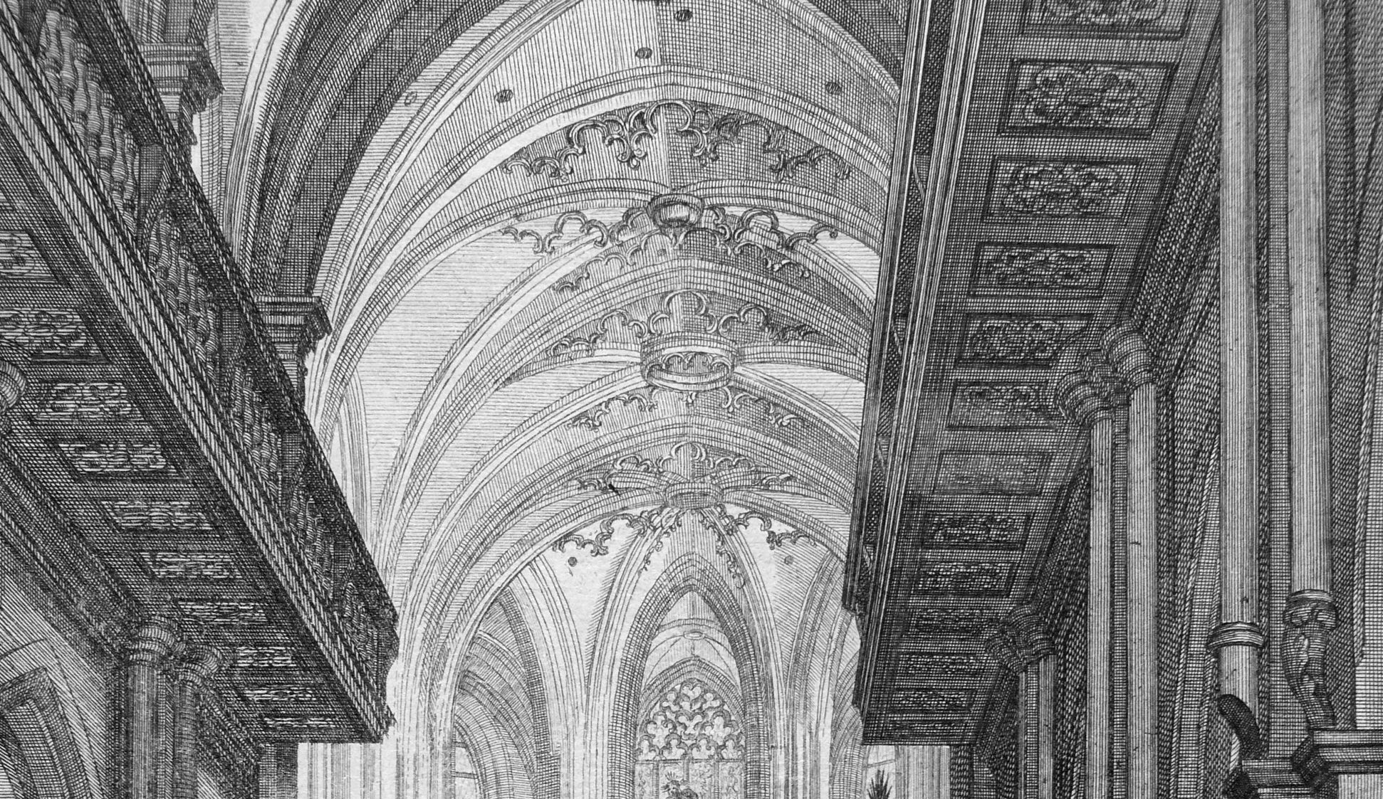 """""""Urbis Norimbergensis Insigniorum Templorum …"""" St. Sebald Chorgewölbe mit den ursprünglichen hängenden Maßwerkfriesen (die nach Kriegszerstörung inkonsequenterweise nicht wiederhergestellt wurden)"""