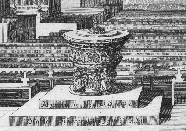 """""""Urbis Norimbergensis Insigniorum Templorum …"""" St. Sebald Taufbecken"""