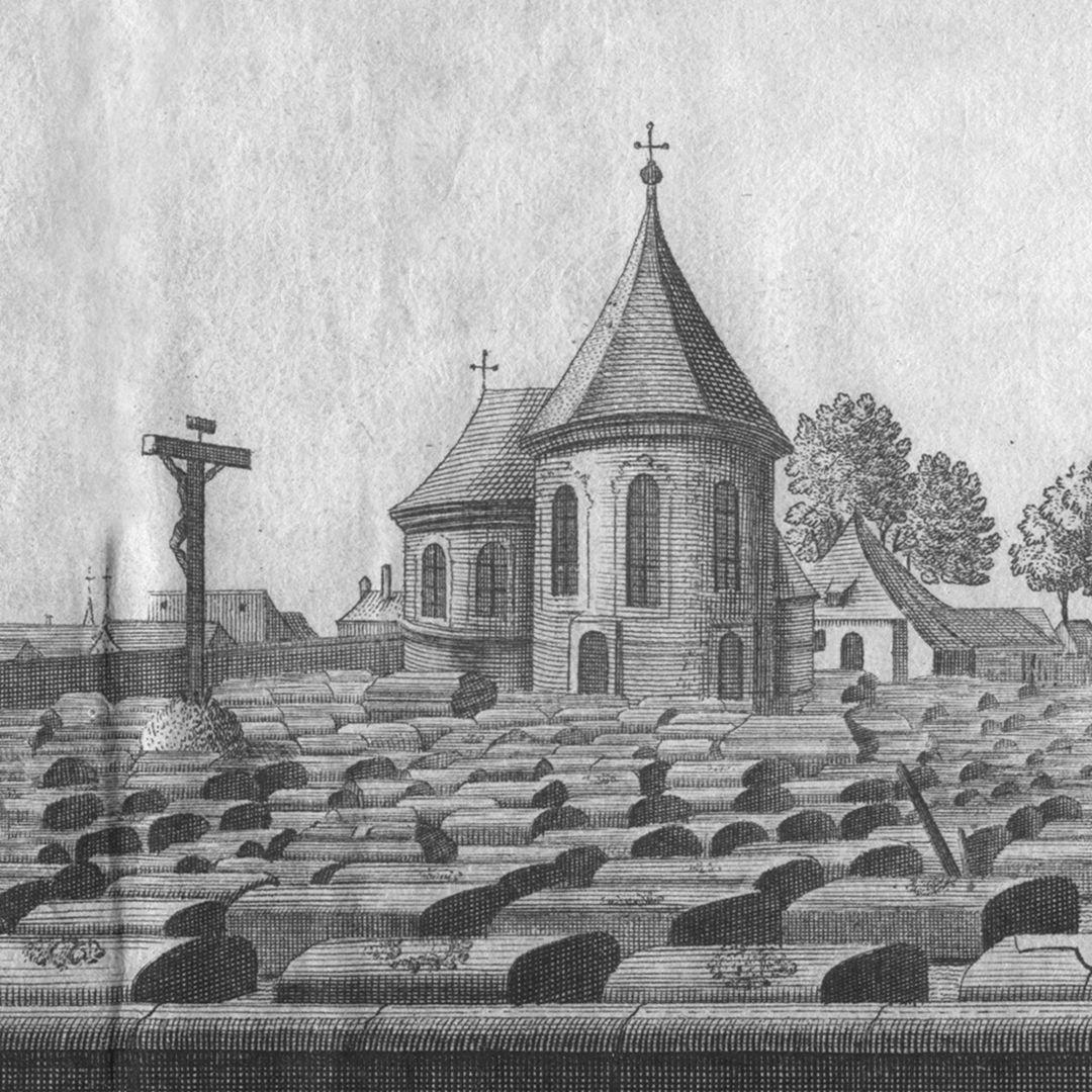 """""""Der große und vordere Kirchhof oder Gottesacker zu St. Johannis, 1/4 Stunde von Nürnberg"""" Detailansicht mit Holzschuher Kapelle"""